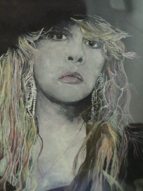 Stevie Nicks... Watercolour on black paper...